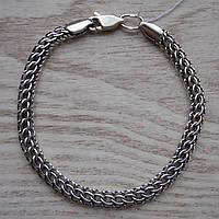 Серебряный браслет, 180мм, 8 грамм, плетение Питон, чернение