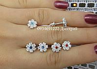 Гвоздики Цветочки с цветной серединкой серебро, фото 1