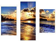 """Модульная картина из 3-х частей  """"Морской прилив"""""""