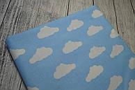 Лоскут ткани №135  голубого цвета с изображением белых облаков