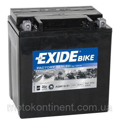 Аккумулятор для мотоцикла гелевый EXIDE SLA12-31= AGM12-31  30 Ah 166x126x175, фото 2