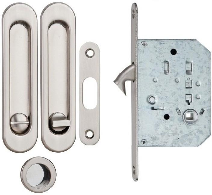 Ручка для раздвижных дверей с мех. WC SIBA мат.никель, фото 1