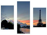 """3-х модульная картина """"Париж на закате"""", фото 1"""