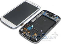 Дисплей (экран) для телефона Samsung Galaxy S3 Duos I9300i, Galaxy S3 Neo Duos I9301 + Touchscreen with frame Original White