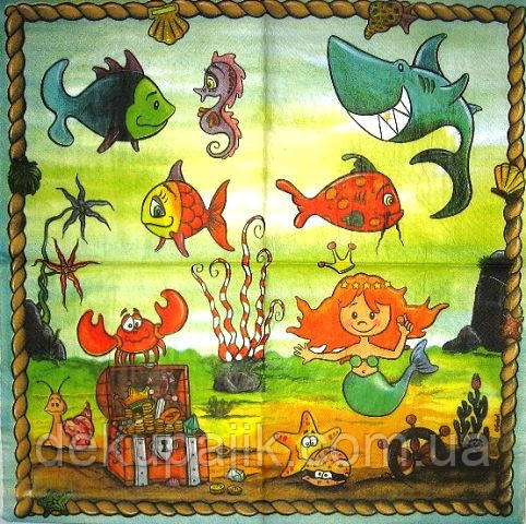 Декупажная салфетка Подводный мир 3911