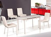 Раскладной Стол стекло+ хром ТВ077 розовый, 110/140*75*75 см