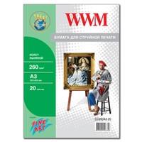Холст WWM натуральный хлопковый , 260г/м кв , A3 , 20л (CC260A3.20)