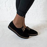 Туфли из натуральной замши черного цвета
