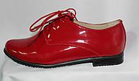 Женские красные туфли-полуботинки из натуральной лакированной кожи