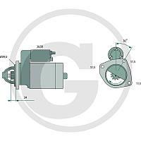 Стартер трактор Case IH CS 68, CS 75, CS 78, CS 86, CS 94 Bosch