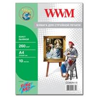 Холст WWM натуральный хлопковый , 260г/м кв , A4 , 10л (CC260A4.10)