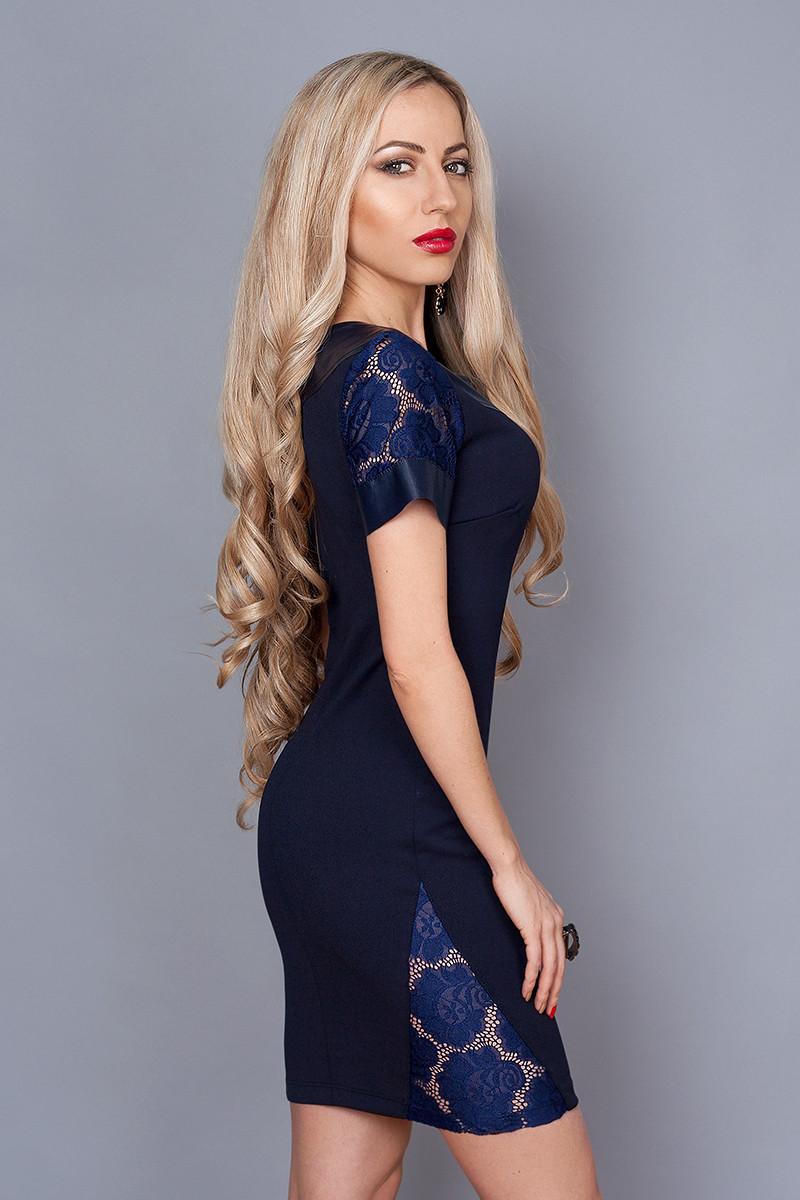 Платье  мод 242-1размер 40,44 темно-синее