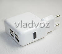 Зарядное для ipad air, ipad 2, air2, ipad mini, ipad 3, iphone 4, iphone 5, iphone 6, 4 usb 5,1V usb 1A+2,1A
