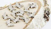 Подвески пластик бабочки серебро 15мм (10штук)