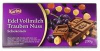 Немецкий шоколад Karina «Edel Vollmilch Trauben Nuss» 200 г