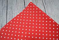 Лоскут ткани №158а  с белыми горошком 3 мм на красном фоне