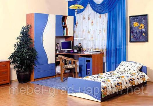 Детская комната Эколь МДФ БМФ синий - крем (без кровати)