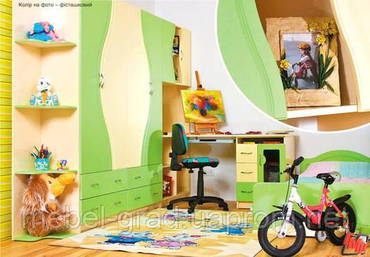 Детская комната Эколь МДФ БМФ фисташка - крем (без кровати)