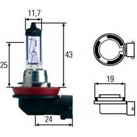 Автомобильная лампа H8 Hella Blue Light 3900K +40%