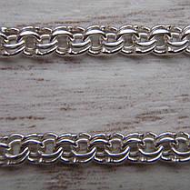 Серебряная цепочка, 500мм, 13 грамм, плетение Бисмарк, светлое серебро, фото 2