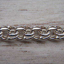 Серебряная цепочка, 500мм, 13 грамм, плетение Бисмарк, светлое серебро, фото 3
