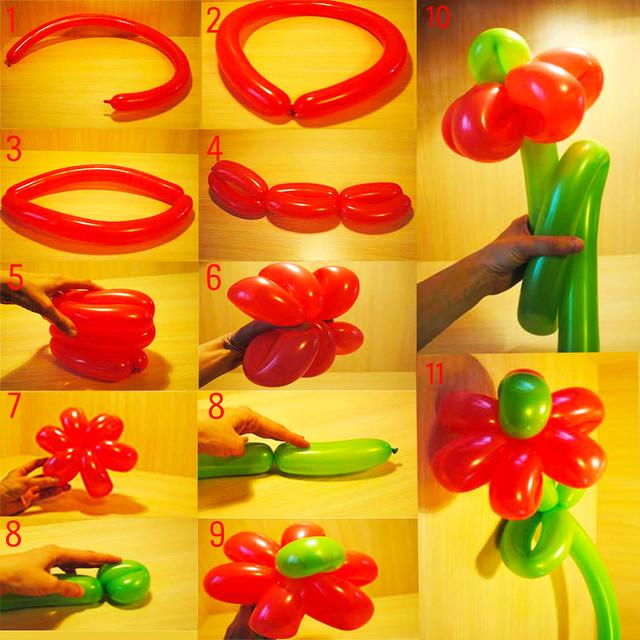Цветок из шариков-колбасок