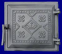 Дверь чугунная топочная Вышиванка