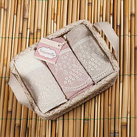 Набор махровых полотенец Begonville - Viva 1 ekru,pembe, gri (молочный,розовый,серый) 30*50-3 шт.