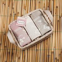 Набор махровых полотенец Begonville - Viva 2 ekru,pembe, gri (молочный,розовый,серый) 30*50-3 шт.