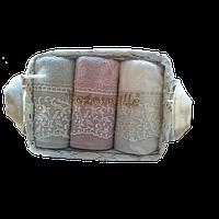 Набор махровых полотенец Begonville - Viva 4 ekru,pembe, gri (молочный,розовый,серый) 30*50-3 шт.