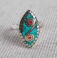 Непальское кольцо ручной работы с бирюзой и кораллом №1