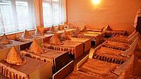 Покрывало на кровать для детского сада, атласное с 2 рюшами (размер 70х140х20 см)