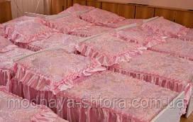 Накидка на подушку для детского сада, атласная с рюшами (размер 50х50х8 см)