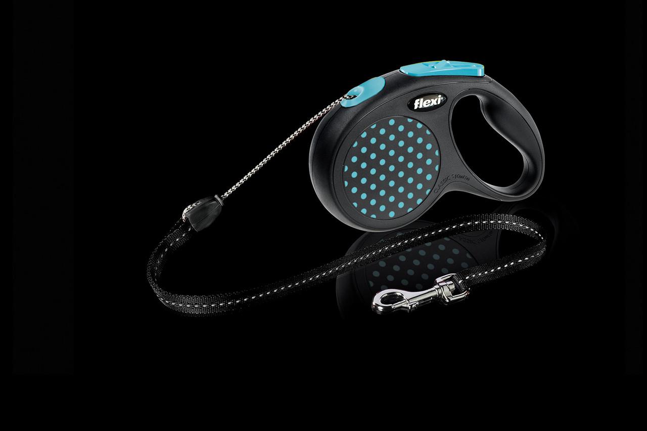 Рулетка Flexi Design тросовый поводок длиной 5 м для собак весом до 12 кг синий