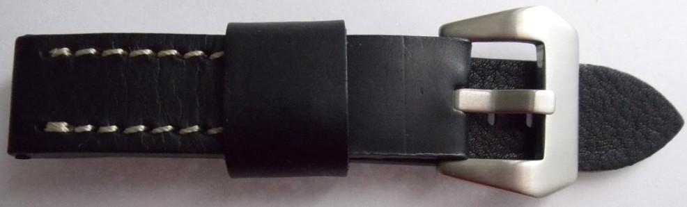 Ремешок кожаный Banda (ИТАЛИЯ) черный 20 мм ,бел.стр.