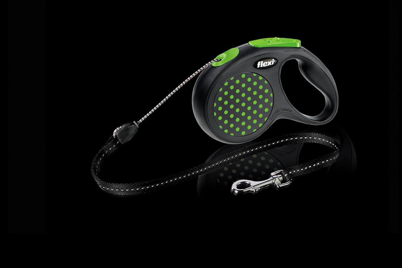 Рулетка Flexi Design тросовый поводок длиной 5 м для собак весом до 12 кг зеленый