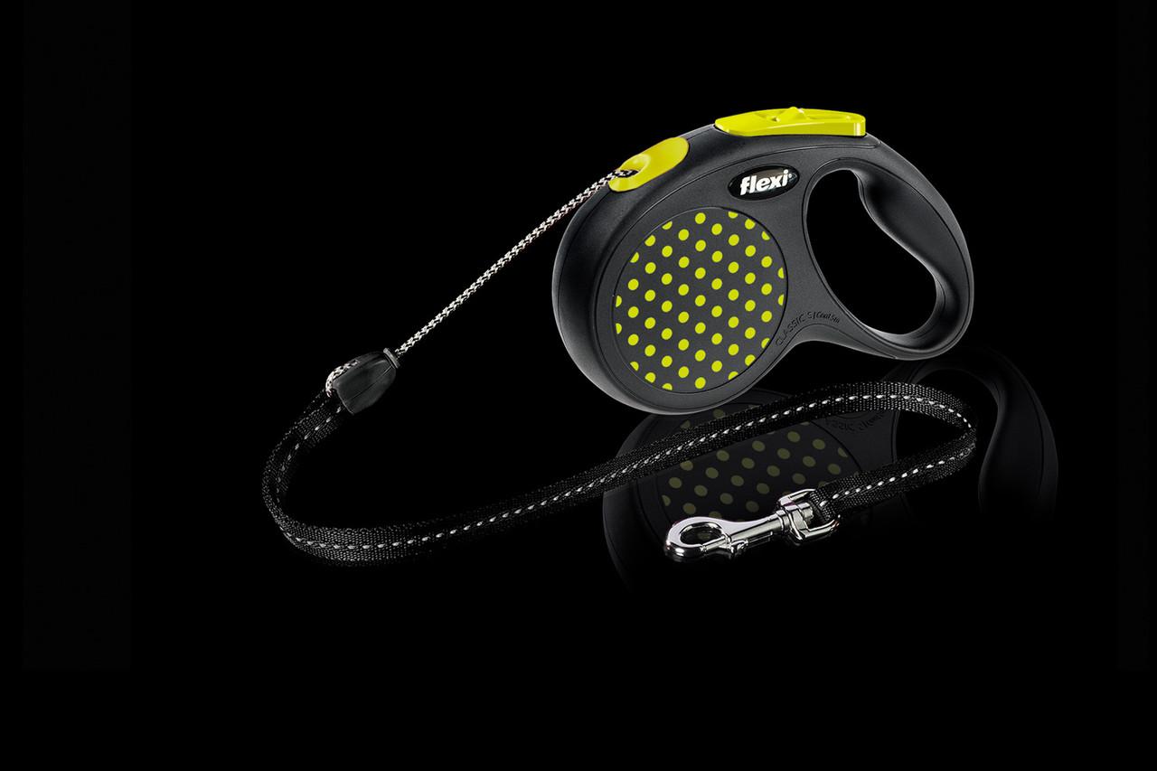 Рулетка Flexi Design тросовый поводок длиной 5 м для собак весом до 12 кг желтый