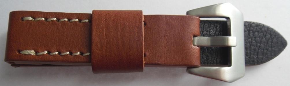 Ремешок кожаный Banda (ИТАЛИЯ) коричн. 20 мм ,бел.стр.