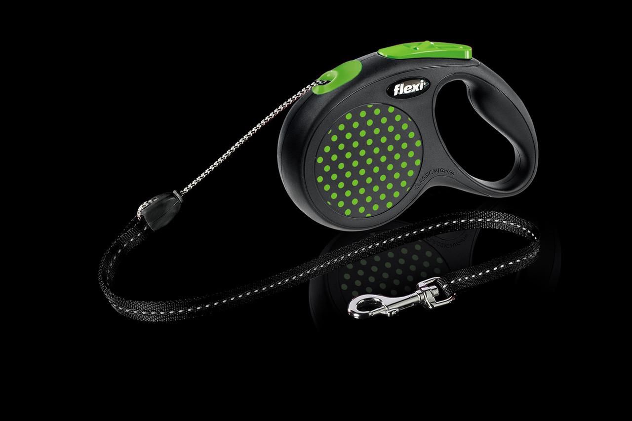 Рулетка Flexi Design тросовый поводок длиной 5 м для собак весом до 20 кг зеленый