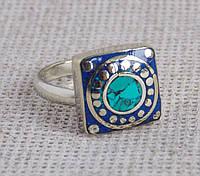 Непальское кольцо ручной работы с бирюзой и лазуритом
