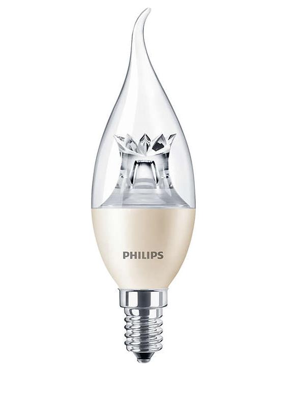 Лампа светодиодная LEDcandle DT 6 - 40W 2700К E14 BA38 CL PHILIPS диммируемая
