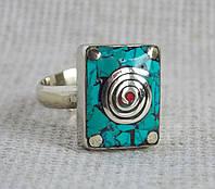 Непальское кольцо ручной работы с бирюзой и кораллом №2