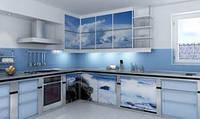 Стеклянный фотофасад для кухни
