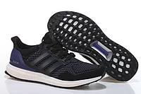Кроссовки мужские Adidas Ultra Boost Black White (адидас) черные