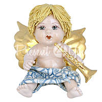 Статуэтка «Купидон со светлыми волосами с трубой» Zampiva, h-12 см.