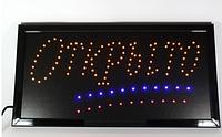 """Светодиодная LED вывеска табло CH3202 """"Открыто"""" с желтыми символами"""