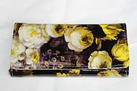 Женский кошелек с искусственной кожи с желтыми цветами