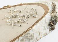 Основа для серьг гвоздик с ушком светлое серебро 11 мм(20 штук)