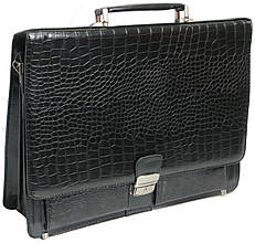 Оригинальный мужской портфель из искусственной кожи под крокодила черный P6806 black