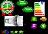 Світлодіодна Лампочка 5 ват 220 вольт е27 для будинку, фото 5